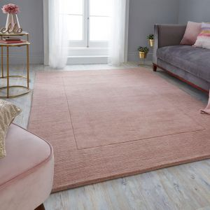 Tuscany Siena Blush Pink Plain Bordered Rug By Flair Rugs