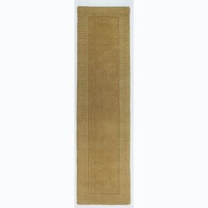 Tuscany Siena Ochre Plain Bordered Runner By Flair Rugs