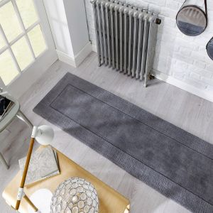 Tuscany Sienna Light Grey Plain Runner By Flair Rugs