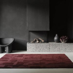 Twinset Mural Burgundy 121100 Abstract Rug by Brink & Campman