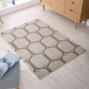Urban Trellis Natural Blue Rug by Flair Rugs