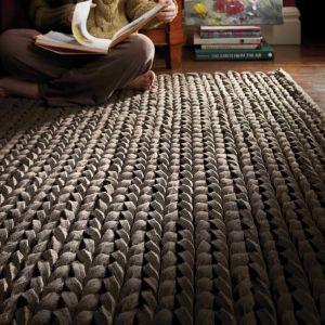 Urbane Sepia Thick Pile Braided Wool Rug by Rug Guru