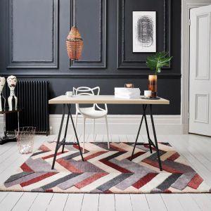 V&A Salon Red/Grey Luxmi Wool Rug by Flair Rugs