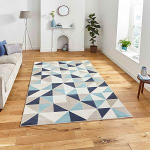 Vancouver 18214 Beige Blue Geometric Rug by Think Rugs