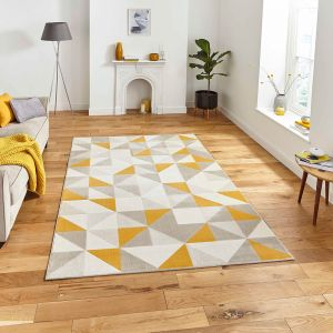 Vancouver 18214 Beige Yellow Geometric Rug by Think Rugs