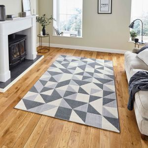 Vancouver 18214 Grey Geometric Rug by Think Rugs