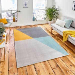 Vancouver 18487 Grey Blue Yellow Geometric Rug by Think Rugs