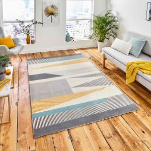 Vancouver 18488 Grey Blue Yellow Geometric Rug by Think Rugs