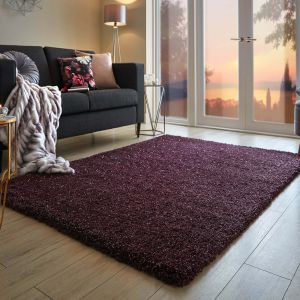 Veloce Purple Shaggy Rug by Flair Rugs