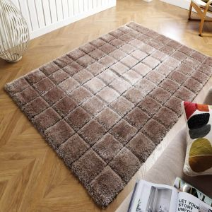 Velvet 3D Cube Natural Geometric Shaggy Rug by Flair Rugs