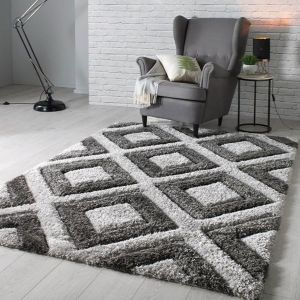 Velvet 3D Diamonds Silver Charcoal Rug by Flair Rugs
