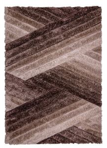 Velvet 3D Incline Natural Brown Shaggy Rug by Flair Rugs