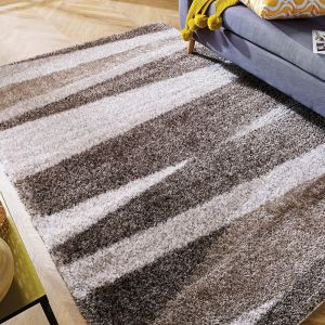 Velvet Boardwalk Ivory Natural Striped Shaggy Rug by Flair Rugs