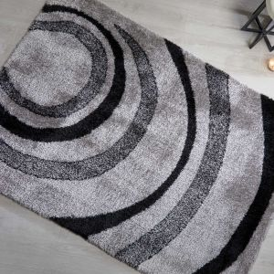 Velvet Droplet Black Grey Abstract Shaggy Rug by Flair Rugs