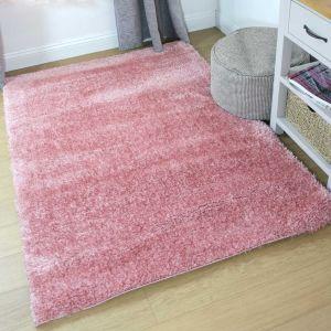 Velvet Pink Plain Shaggy Runner by Flair Rugs
