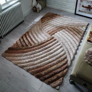 Verge Furrow Natural Rug by Flair Rugs