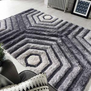 Verge Hexagon Grey Rug by Flair Rugs