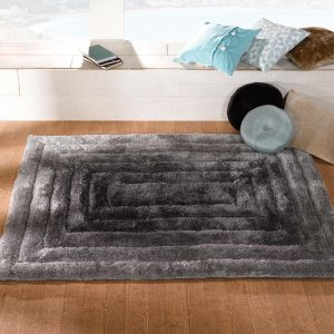 Verge Ridge Black Grey Hand Carved Polyester Rugs By Flair Rugs