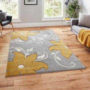 Verona OC15 Grey Yellow Floral Rug by Think Rugs