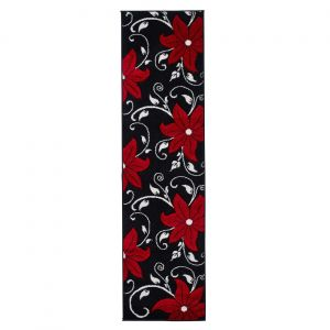 Verona OC15 Black Red Floral Runner By Think Rugs