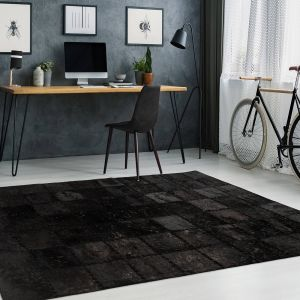 Voila 100 Black Leather Rug by Arte Espina