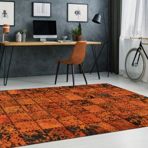 Voila 100 Orange Leather Rug by Arte Espina