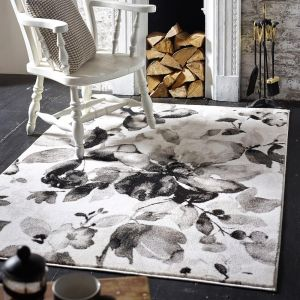 Watercolour Floral Grey Rug by Origins