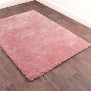 Whisper Blush Plain Shaggy Rug by Rug Style