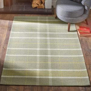 Winnie Ochre Natural Chequered Wool Rug by Origins
