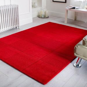 Wool Squares Red Chequered Rug By Flair Rugs 1