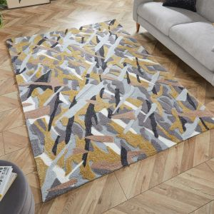 Zest Bark Texture Ochre Abstract Rug by Flair Rugs
