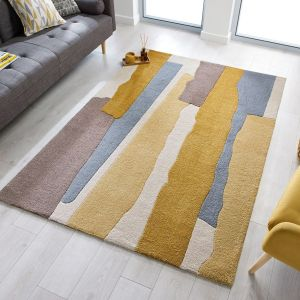 Zest Escala Ochre Abstract Rug by Flair Rugs