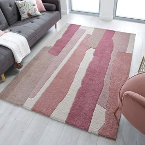 Zest Escala Raspberry Abstract Rug by Flair Rugs