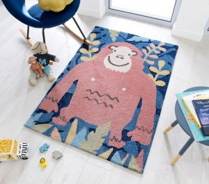 Zest Kids Jungle Monkey Brown Multi Rug by Flair Rugs