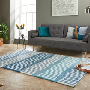 Zest Linear Stripe Denim Rug by Flair Rugs