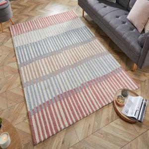 Zest Linear Stripe Grey Terracotta Rug by Flair Rugs