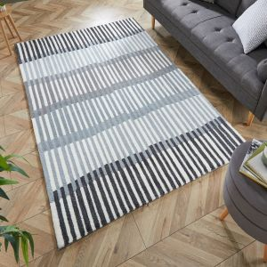 Zest Linear Stripe Monochrome Rug by Flair Rugs