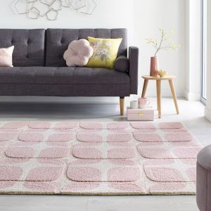 Zest Mesh Blush Geometric Rug by Flair Rugs