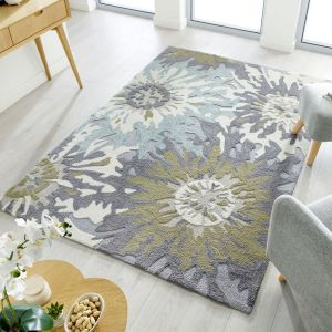Zest Soft Floral Green Rug by Flair Rugs