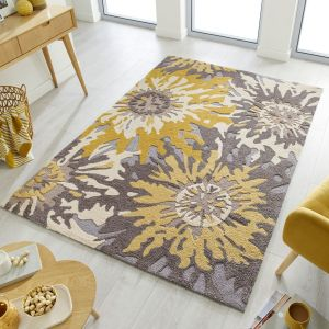Zest Soft Floral Grey Ochre Rug by Flair Rugs