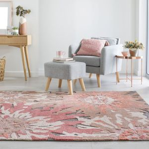 Zest Soft Floral Terracotta Rug by Flair Rugs