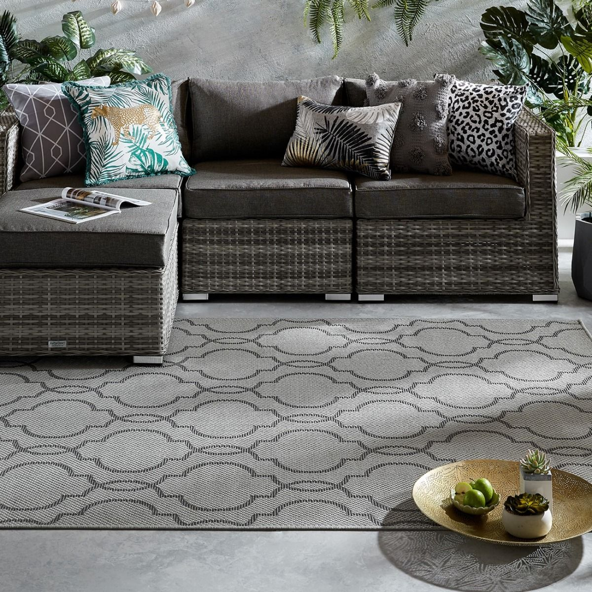 Buy Florence Alfresco Milan Grey Black Geometric Rug Therugshopuk