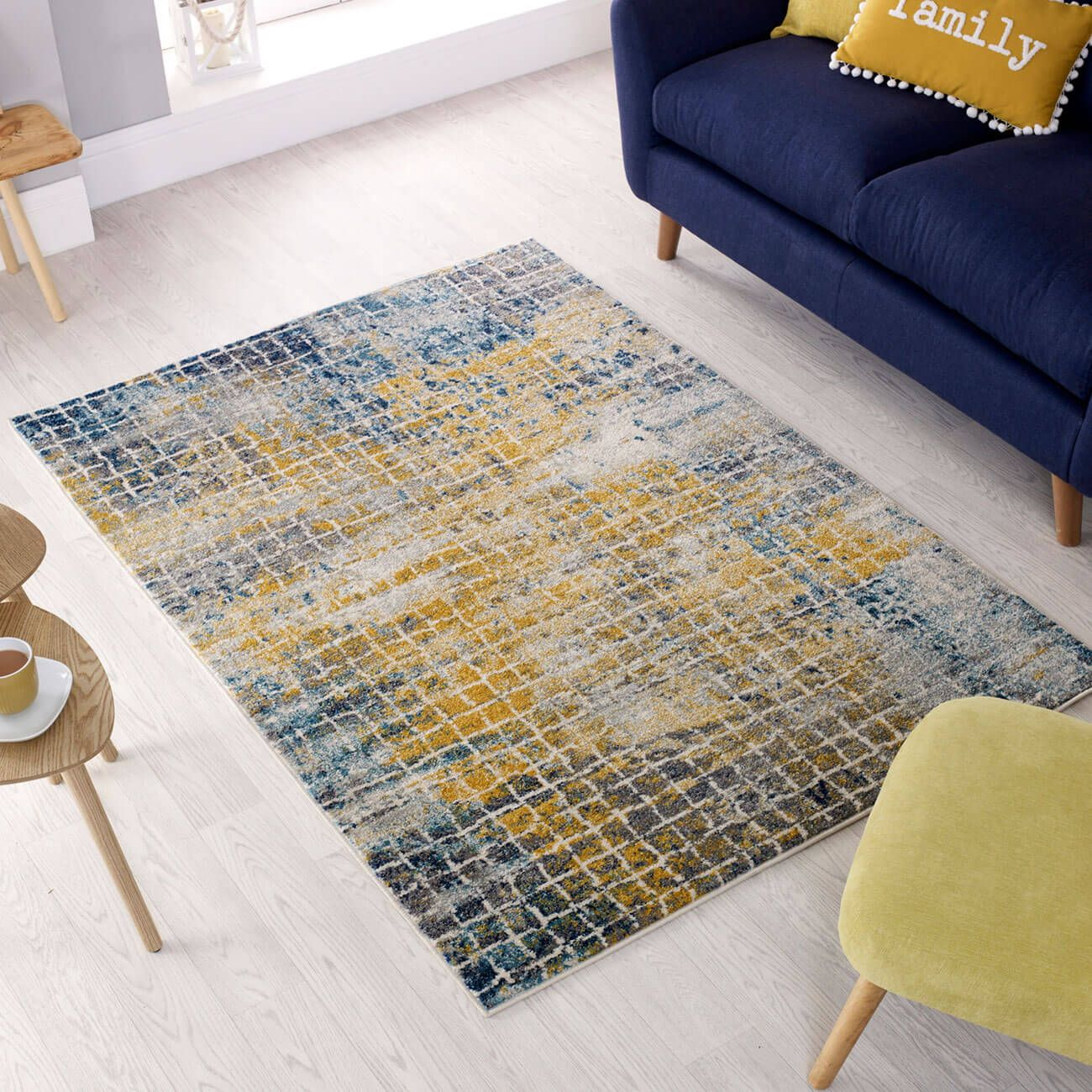 Buy Urban Abstract Blue Multi Rug Therugshopuk