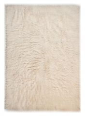 1250 Flokos Natural White Wool Circle Rug by Theko