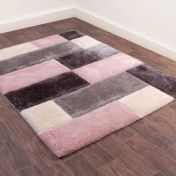 3D Carved Blocks Blush Shaggy Rug by Ultimate Rug