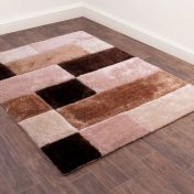 3D Carved Blocks Natural Shaggy Rug by Ultimate Rug