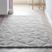 3D Triangles Grey Wool Rug by Origins