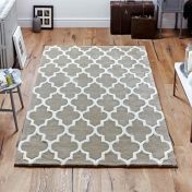Arabesque Beige Modern Wool Rug by Oriental Weavers