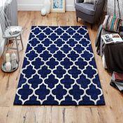 Arabesque Blue Modern Wool Rug by Oriental Weavers
