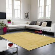 Aran Jasmine Yellow Plain Wool Luxury Rug By Asiatic